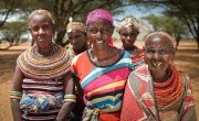 Nalois Lepile with some of the women who have been part of the community conversations project in Marsabit county, Kenya. Photo: Kieran McConville / Concern Worldwide.