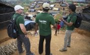 Members of the Concern emergency response team at Hakim Para refugee camp. Photo: Kieran McConville / Concern Worldwide.