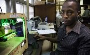 An engineering student at The University of Nairobi in the college's FabLab. Photo: Concern Worldwide.