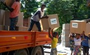 Workers load up trucks with supplies for the areas of the Nsanje Region worst affected by Cyclone Idai. Malawi. Photo: Gavin Douglas / Concern Worldwide.