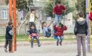 A group of children play outside an Education Support Centre in Adiyaman, Turkey, before heading in for Turkish class. Photo: Concern Worldwide.
