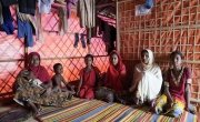 Lukia* (18), a Rohingya widow along with her famiy members at their tent at Hakimpara camp in Ukhiya. Photo: Abir Abdullah/Concern Worldwide