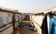 Communal shelters built by Concern in the PoC of Juba, South Sudan. Photo: Steve De Neef