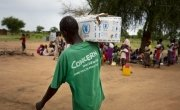 Concern staff work tirelessly at a nutrition clinic in South Sudan. Photo: Abbie Trayler-Smith