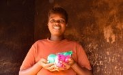 'It will help my household curb the risk of contracting the virus' says Veronica Banda from Lilongwe after receiving soap and Covid-19 fliers as part of a hygiene distribution by Concern Malawi.
