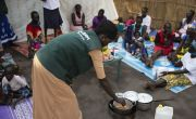 A cooking demonstration run by Concern in Pugnido Refugee Camp in Gambella, Ethiopia. Photo: Kieran McConville