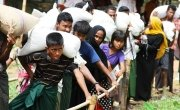 A long queue in front of Mainerghona food distribution center in Cox's Bazar Bangladesh