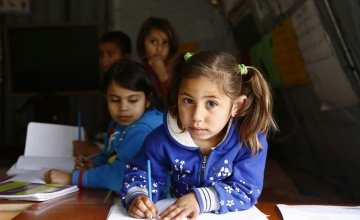 Farah* attends a non-formal education programme in an informal settlement that focuses on early childhood education in Akkar, north Lebanon. Photo: Chantale Fahmi/Concern Worldwide.