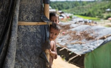 Boli and Mohamud (not their real names) at Moynadhona refugee camp for Rohingya in Cox's Bazar, Bangladesh.
