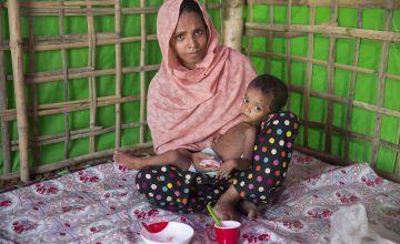 Layru and Hala at Concern Worldwide's Nutrition Support Centre. Bangladesh, Photo: Kieran McConville