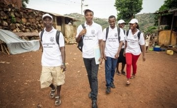A team of Community health workers (CHWs) in Dwarzack community, Freetown. Photographer: Michael Duff