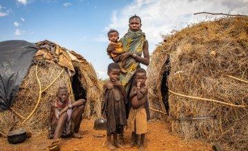 Ng'ikario Ekiru with her mother-in-law Nakode and three of her children, Aukot, Ekuam and Apua. Photo: Gavin Douglas / Concern Worldwide.