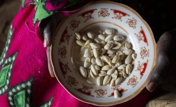 A bowl of food pictured in the home of Nyarok* and her husband Makur*. Photo: Abbie Traylor-Smith/ Concern Worldwide