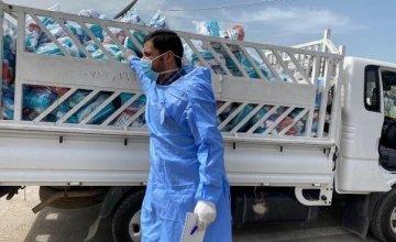 Hygiene kits being distributed at Khankay camp, Iraq
