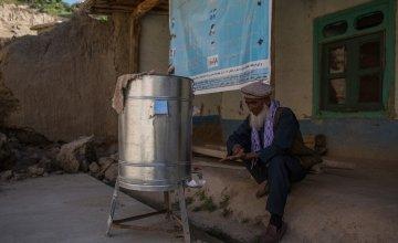 Village elder Edris*, 60, washes his hands as preventative measure to the spread of Covid-19. Photo: Stefanie Glinski