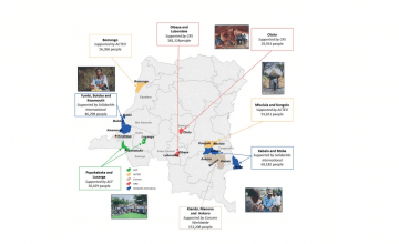 Population supported by the DRC WASH Consortium by Health Zone and agency