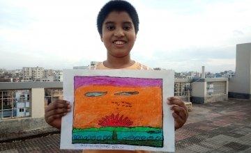 Jarif with his artwork, Bangaldesh.
