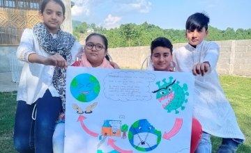 Sarfraz's family with their artwork, Pakistan