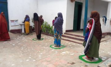 Social distancing and hand-washing measures have been introduced in our health facilities in Somalia. Photo: Concern Worldwide