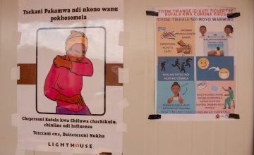Covid-19 messages are displayed in words and in images to ensure easy understanding. Lilongwe, Malawi. Photo: Henry Mhango / Concern Worldwide.