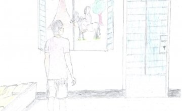 Kouguer's drawing from his room in the Sila Province, Chad