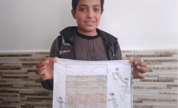 12-year-old Abdallah from Syria pictured here with his drawing of what he wants to be when he grows up: an architect.