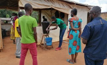 The important of hand-washing is taught in Concern's COVID-19 prevention programmes in Central African Republic.
