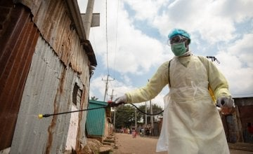 Sylivamus, a Public Health Officer, fumigating households in Korogocho informal settlements, Nairobi. Photo: Ed Ram