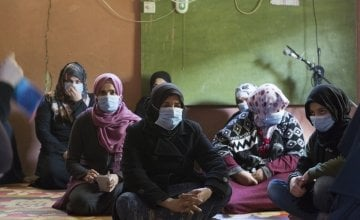 A group of Syrian refugee women attend a hygiene promotion session at an informal tented settlement in Akkar, Lebanon. Photo: Dalia Khamissy/Concern Worldwide