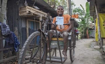 Shahin Mallik, a person with a disability, lives in the project area in Bangladesh and was due to receive support. Photo: Farhad Hamid