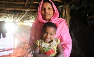 Hayatun Nur* with daughter Rozina* in Cox's Bazar, Bangladesh.