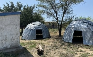 These new 'maternity waiting shelters' at the Illeret Health Centre are similar to the nomadic homes that local Dashamite families live in, and make visiting mums feel more at home. Photo: Jennifer Nolan