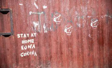 'Stay at home' graffiti in Nairobi
