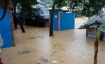 Cox's Bazar is underwater in 2021 after heavy rainfall. Flooding and landslides developed at the Rohingya camp.