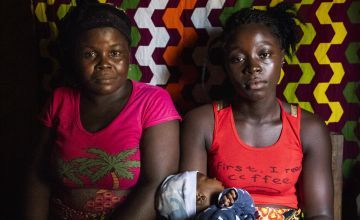 A mother, daughter and baby in Liberia