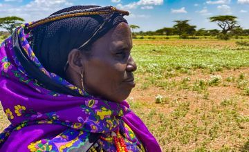 A member of the Chalbi Salt Self Help Group looks into the distance