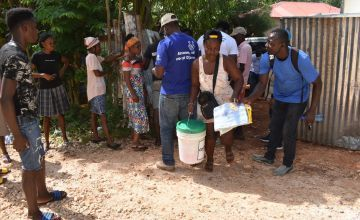 Habitat for Humanity and Concern teams in Haiti distribute essential hygiene kits to families whose homes and belongings were destroyed or badly damaged in the Haiti Earthquake. Photo: Isabelle Vasquez/Habitat for Humanity
