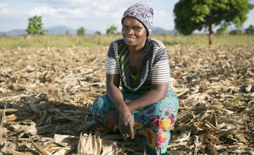 Agnes Jack is being supported by Concern to practice conservation agriculture. Since participating in the graduation programme her crop yields and income has greatly improved. Photo: Kieran McConville