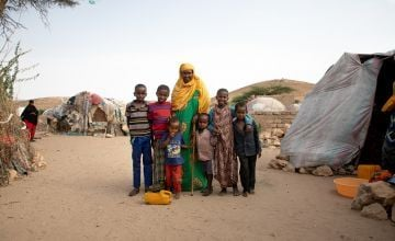 Grandmother Saakin Yuuglun has been living in an IDP camp in Somalia for the last 7 years. She is pictured here with her grandchildren. Photo: Gavin Douglas