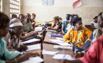 Teacher training at Mile-91 school, Tonkolili, Sierra Leone. Photo: Michael Duff / Concern Worldwide.