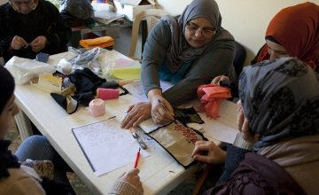Stitching at an embroidery workshop in Lebanon supported by Concern. Credit: Abbie Trayler-Smith/Concern