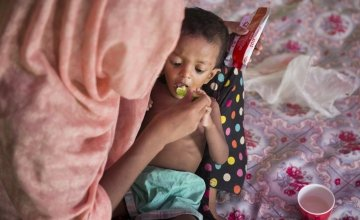 Layru (25) and Hala (F - 2yrs) at Concern Worldwide's Nutrition Support Centre at Hakim Para camp in Cox's Bazar, Bangladesh. Hala was 5.3kgs when admitted to the OTP, with a MUAC of 10.2. Layru says the family walked for 15 days to escape Myanmar, with l