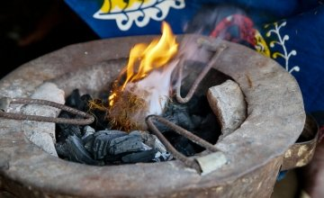 Flames of an eco stove in Sierra Leone.