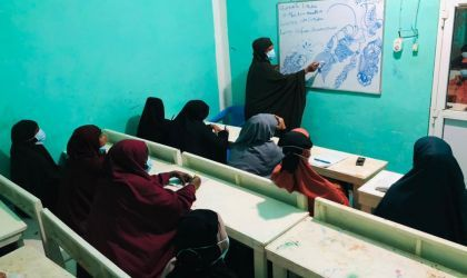Beauty salon facilitator under Danwadaag programme drawing and explaining types of henna designs, March 2021. Photo : Yusuf Mah.