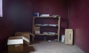 The pharmacy at Pama Health Facility is almost empty. The only medication that remains - a full box of tablets for treating malaria (Artemether 20mg) - is out of date. Photo: Chris de Bode / CAR
