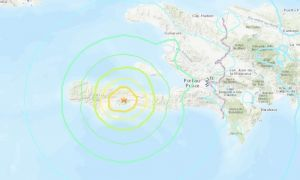 Location of earthquake in Haiti, August 2021