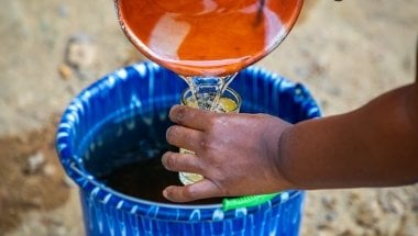 Water from the local creek in Liberia. Before Concern built the well, this creek was their only water source. Photo: Gavin Douglas