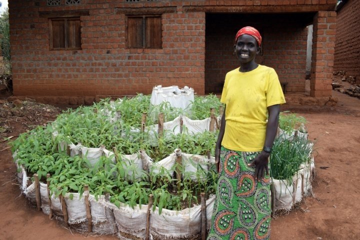 Renate is making more nutritious meals with her home garden in Kirundo, Burundi. Photo: Darren Vaughan / Concern Worldwide