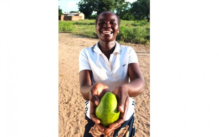 Malita Isaac, 25, shows off one of the avocados she's grown in Malawi with the support of Concern. Photo: Jason Kennedy /Concern Worldwide