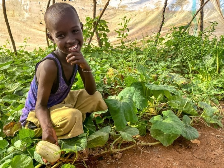 Abudho, six, admires his mother's plot of healthy butternut squash at home in Northern Kenya. Photo: Jennifer Nolan / Concern Worldwide